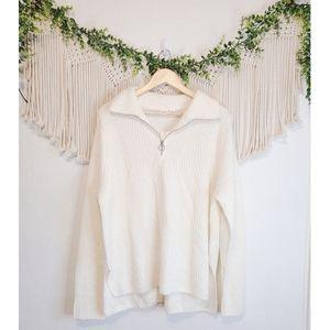 NEW GAP White Quarter Zip Long Sleeve Knit Pullover Sweater sz XL tall